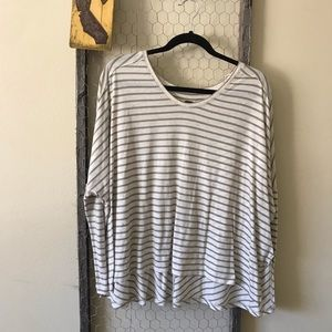 Free People Taupe Striped Marled Long Sleeve